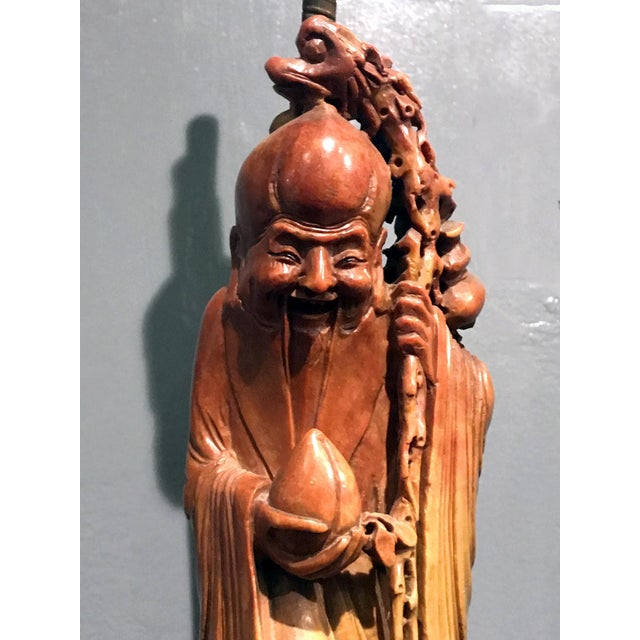 Late 19th Century 19th Century Chinese Soapstone God of Longevity Mounted as Lamp For Sale - Image 5 of 12