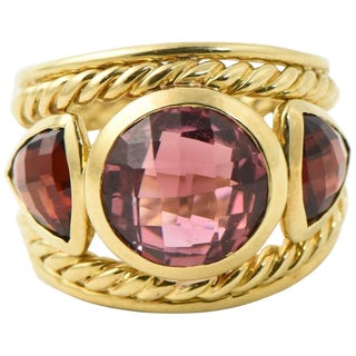 David Yurman Renaissance Rubelite Garnet 18k Gold Ring For Sale