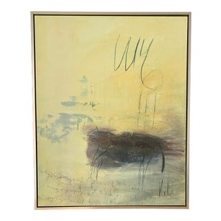 Abstract #5 Yellow Giclée on Archival Canvas Framed For Sale