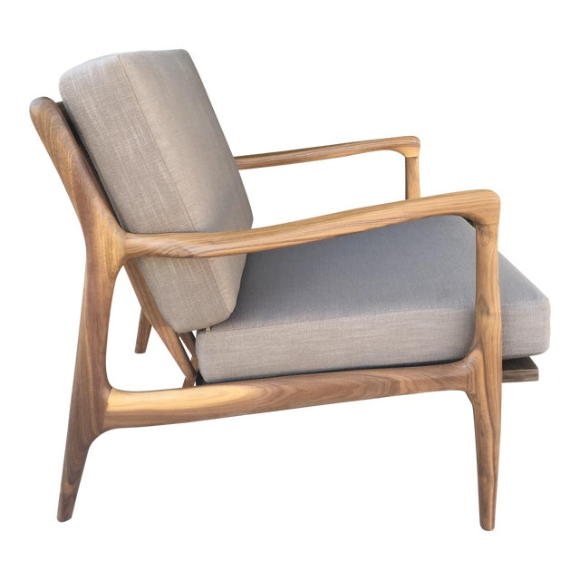 Custom Walnut Lounge Chair in Soft Taupe Gray For Sale