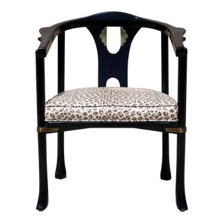 Vintage Century Ming Chair With Brass Accents - Newly Upholstered in Kravet Cheetah For Sale