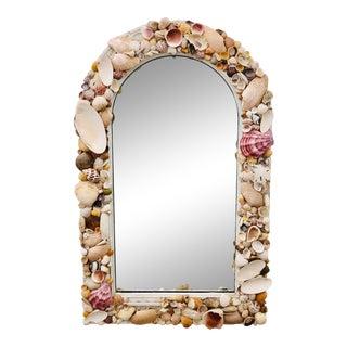 Vintage Folk Art Seashell Covered Medicine Cabinet/Vanity Mirror For Sale