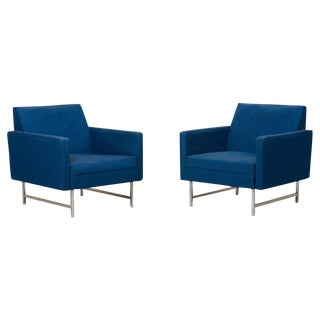 Pair of Lounge Chairs by Paul McCobb for Directional Upholstery Needed For Sale