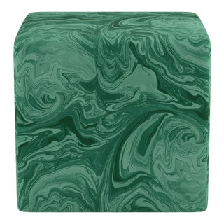 Cube Ottoman in Malachite By Scalamandre For Sale