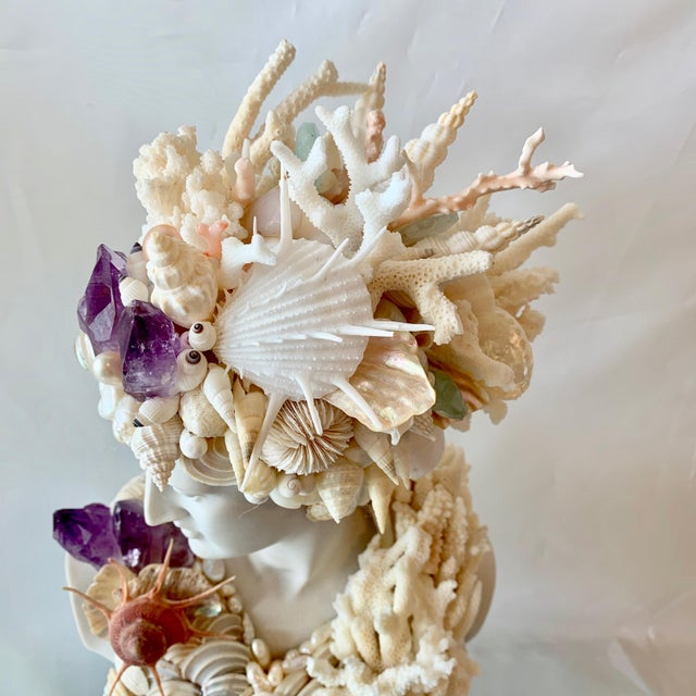 Christa's South Seashells Greek Artemis in Shells Corals and Amethyst Sculpture For Sale - Image 4 of 6