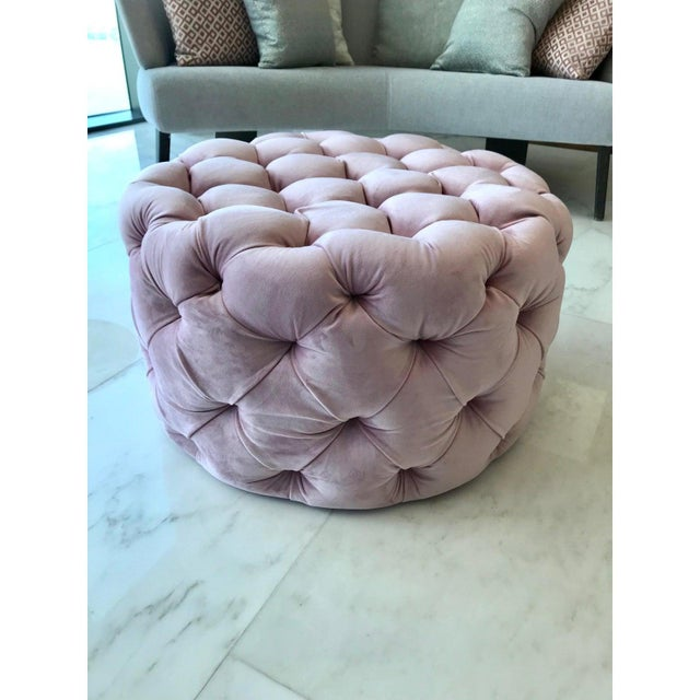 Pink Chic Hollywood Regency Tufted Ottoman in Blush Velvet Pink For Sale - Image 8 of 12