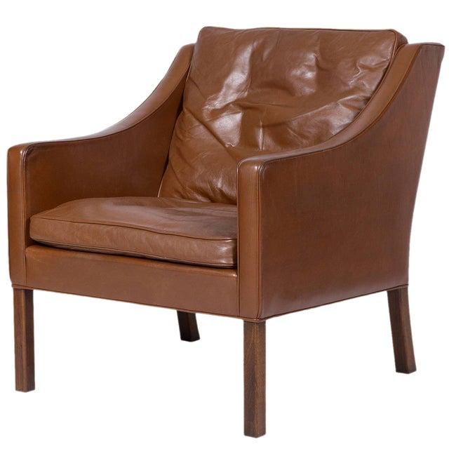 Børge Mogensen Model #2207 Leather Lounge Chair For Sale