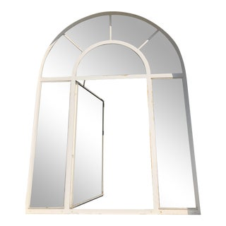 1920s Metal Case Arched Window With Bronze Hardware For Sale