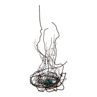 2007 Iron Sculpture of Nest With 3 Blue Eggs For Sale