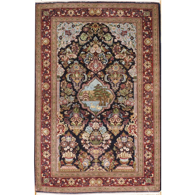 "Islamic Pasargad Kashan Hand-Knotted Rug - 3'4"" X 5'2"" For Sale - Image 3 of 3"