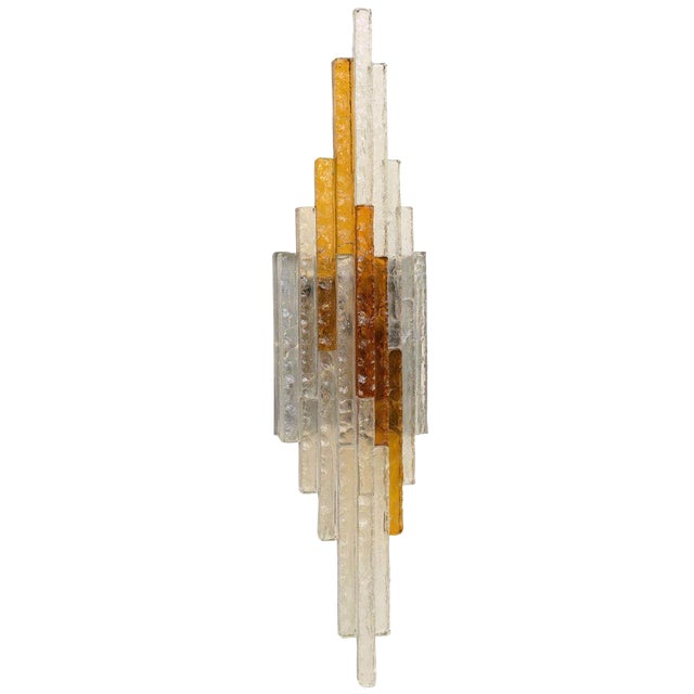 Sculptural Glass Wall Sconce For Sale