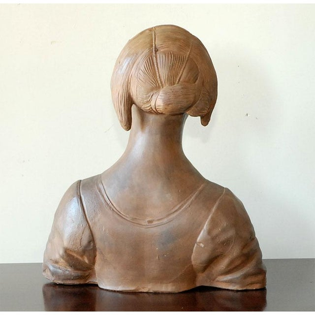 Late 20th Century Late 20th Century Renaissance Style Terra Cotta Bust of a Woman For Sale - Image 5 of 9
