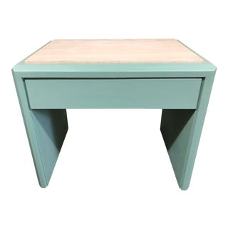 Travertine Topped Painted Side Table For Sale