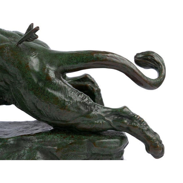 """Green """"Wounded Lioness"""" French Antique Bronze Sculpture by Charles Valton For Sale - Image 8 of 13"""