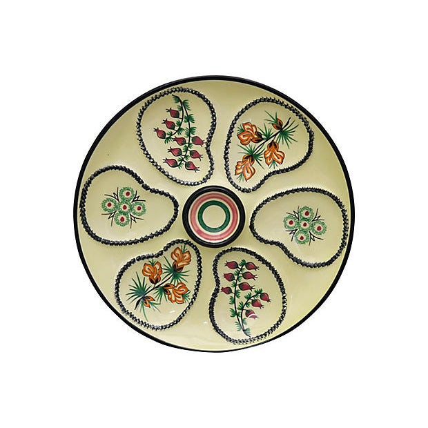 Cottage Mid-Century French Quimper Oyster Plate For Sale - Image 3 of 3