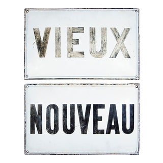 "Vintage ""New & Old"" Porcelain French Signs - a Pair For Sale"