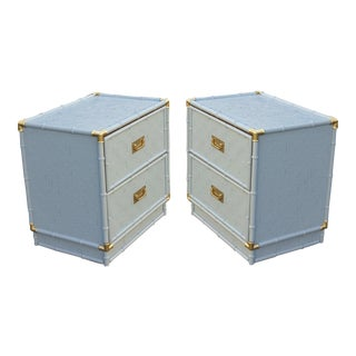Vintage Campaign Style Nightstands - a Pair