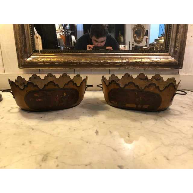 19th Century English Traditional Tole Cachepots - a Pair For Sale - Image 10 of 10
