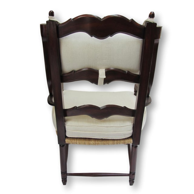 Large Ladder Back Wing Chairs - Pair - Image 4 of 7