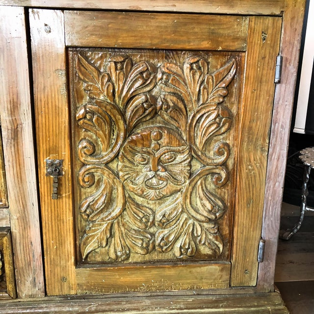 Gorgeous Antique One of a Kind Hand Carved Wood Mexican Buffet / Sideboard / Console with Cherubs and Green Man Perfect...