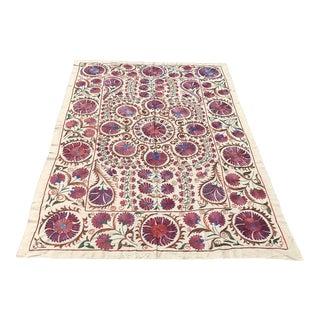 Boho Chic Floral Ivy Crochet Fabric/Handmade Suzani Bedspread For Sale
