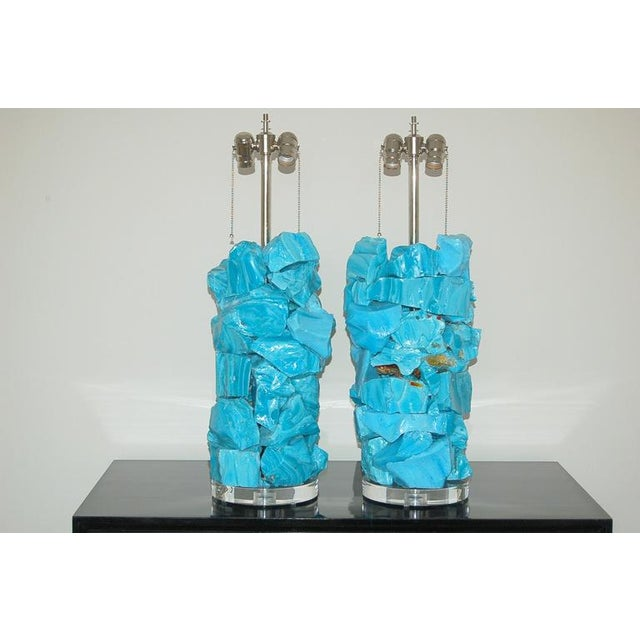 Tumbled glass rock table lamps designed by Swank Lighting. Vibrant colors of MALIBU BLUE. These spectacular lamps do...