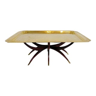 Vintage Moroccan Etched Brass Tray Coffee Table For Sale