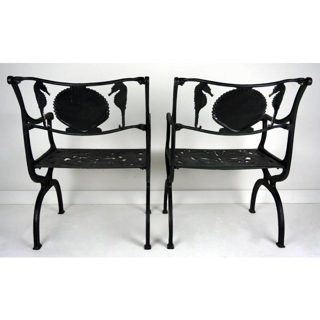 Pair Of Cast Aluminum Garden Chairs With Seahorse And Shell Motif Molla 1950s