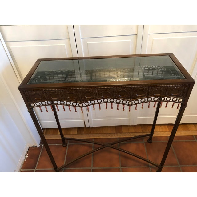 Boho Chic Bombay Co. Bohemian Hammered Bronze Copper Metal Accent Table For Sale - Image 3 of 13