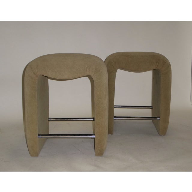 Luxurious Modern Faux Ostrich Upholstered Stools 1970s - Image 2 of 13