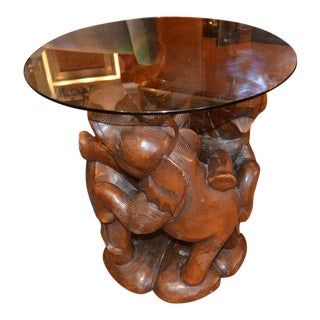 Vintage Three Elephant Sculpture Hand Carved Wood Base Accent Table With Round Glass Top For Sale