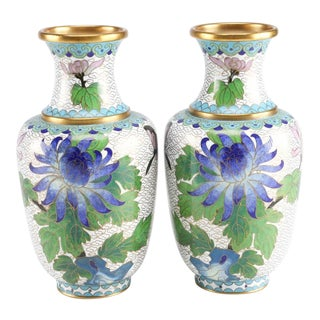 Chinese Cloisonné Vases With Chrysanthemum Blossom Motif - a Pair For Sale