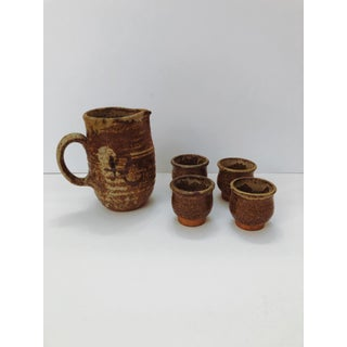 1970s Boho Chic, Minimalism Brown Studio Pottery Pitcher & Cups - Set of 5 Preview