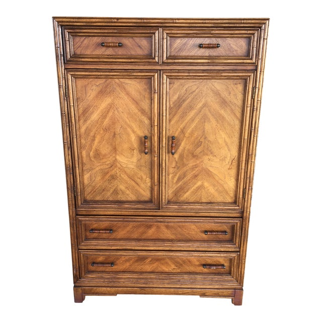 Century Chair Company Faux Bamboo Armoire - Wardrobe Cabinet For Sale