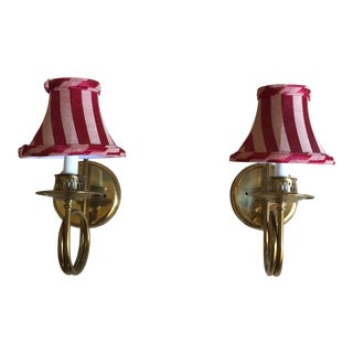 Antique Curled Brass Sconces With Shades - A Pair