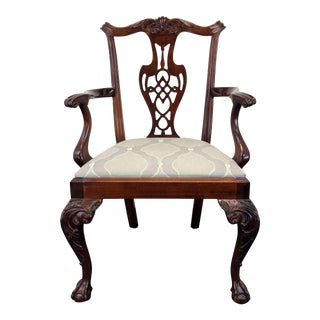 Hickory Chair Chippendale Ball in Claw Mahogany Dining Armchair For Sale