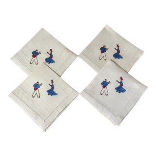 Embroidered Linen Cocktail Drinks Napkins Flamenco Dancers - Set of 4 For Sale