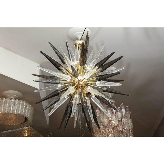 Gold Murano Smoke and Clear Glass Spike Sputnik For Sale - Image 8 of 10