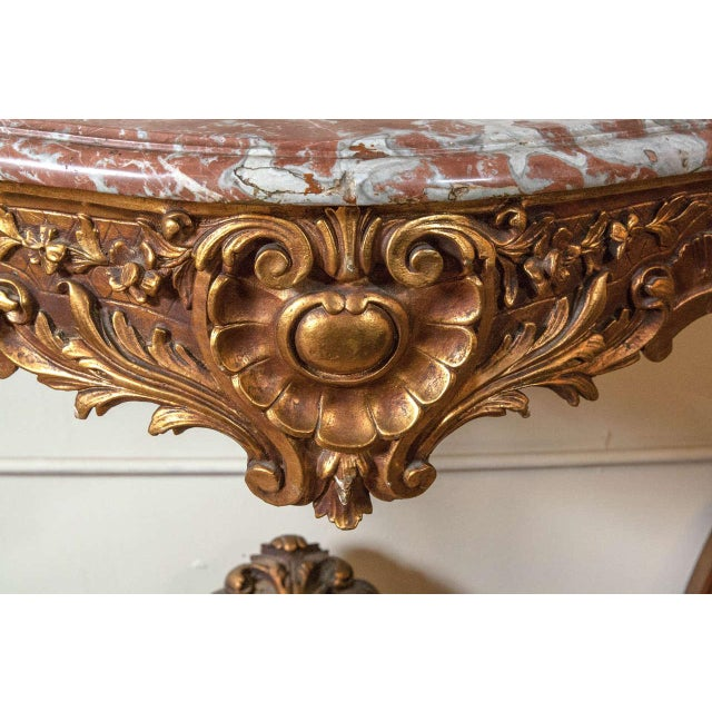 Marble Top Louis XV Style Console Table by Jansen - Image 4 of 8