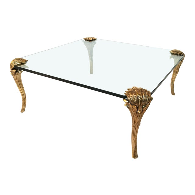 p.e Guerin Gilt Bronze and Glass Coffee Table For Sale