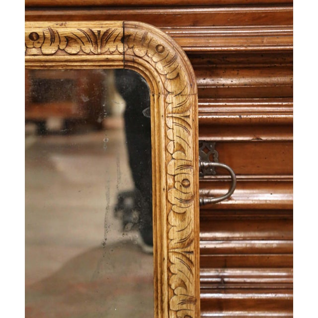 Mid 19th Century 19th Century French Louis XIII Carved Bleached Oak Wall Mirror For Sale - Image 5 of 8