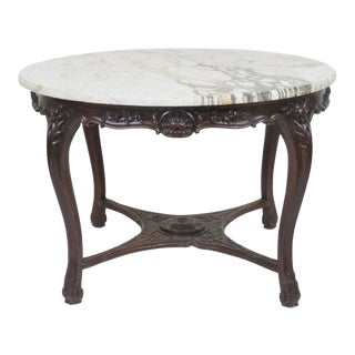 Victorian Marble Top Carved Center Table For Sale