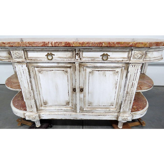 Late 19th Century Antique Marble Top Paint Decorated Sideboard For Sale - Image 5 of 10