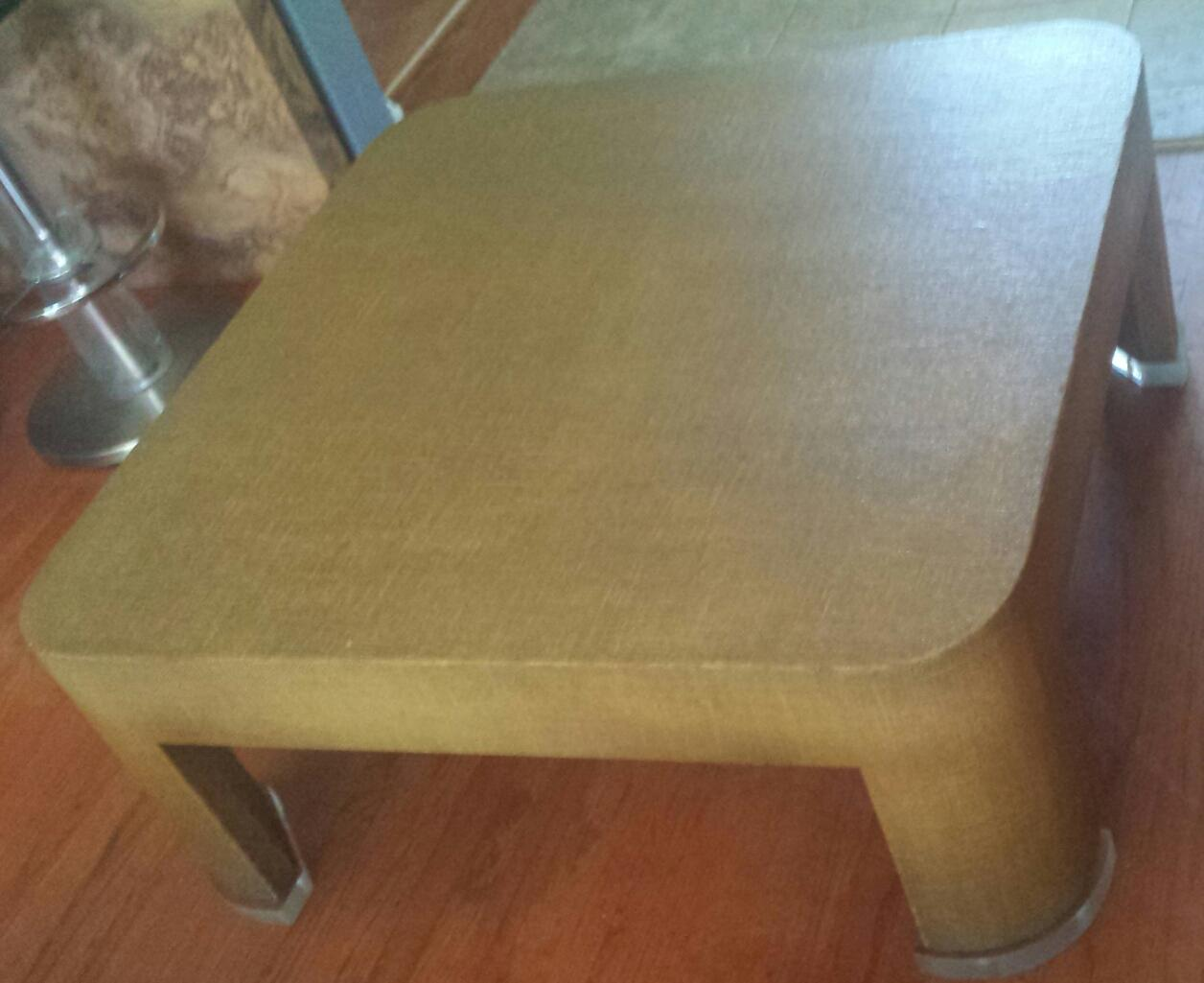 Square Grasscloth Coffee Table After Karl Springer   Image 5 Of 10