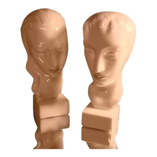 1920's Art Deco Lenox Porcelain Busts - a Pair