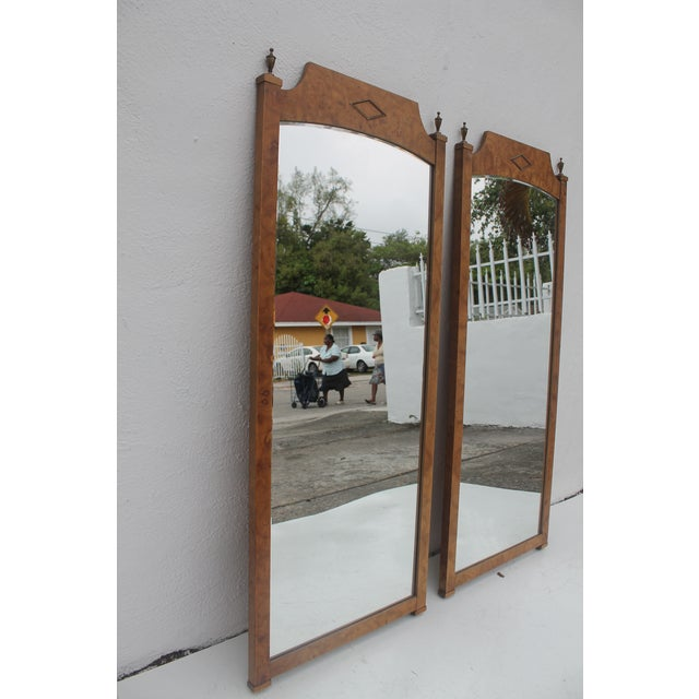 Burlwood & Brass Wall Mirrors - A Pair - Image 3 of 11