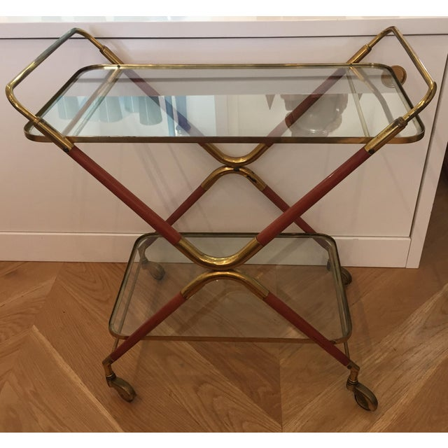 Cesare Lacca mid century amazing Italian bar cart. Vintage condition. Made in the 1950s.