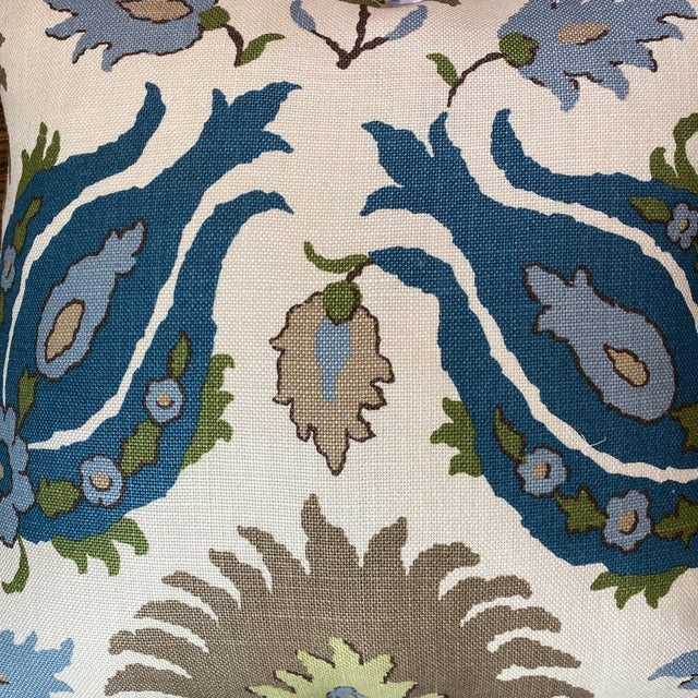 """Brunschwig & Fils """"Kashmiri Linen Print Teal/Taupe"""" 22"""" Pillows-A Pair For Sale In Greensboro - Image 6 of 7"""