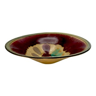 Oxblood Drip Glaze Studio Pottery Centerpiece Bowl - Signed For Sale