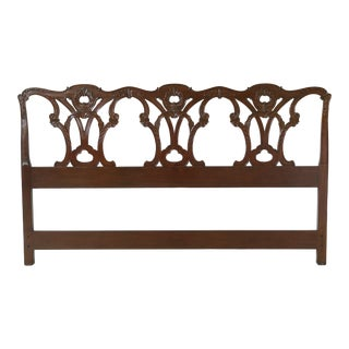 King Size Chippendale Carved Mahogany Bed Headboard For Sale